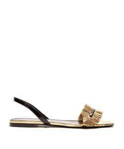 Saint Laurent | Edie Ruffle-Trimmed Snakeskin Sandals