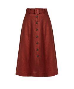 Sea | Button-Down A-Line Linen Midi Skirt
