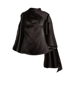 Osman | Adena Satin Draped-Scarf Top