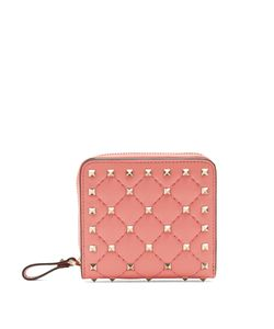 Valentino   Rockstud Spike Quilted-Leather Wallet