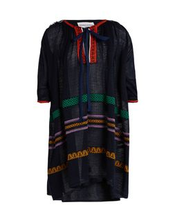 Sonia Rykiel | Tie-Neck Embroidered Linen-Blend Dress