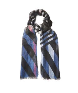 Burberry | Stripe And Check-Print Linen Scarf
