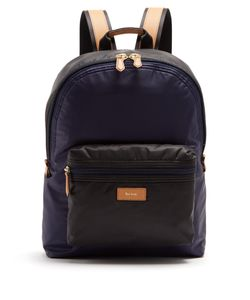 Paul Smith | Tri-Colour Leather-Trimmed Nylon Backpack