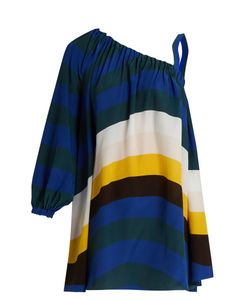 Fendi | Wave-Print One-Shoulder Short Kaftan