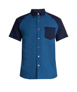 Blue Blue Japan | Short-Sleeved Contrast-Panel Cotton Shirt