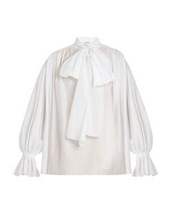 Vika Gazinskaya | Tie-Neck Cotton-Poplin Blouse