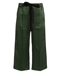 Fendi | Geometric-Print Silk-Satin Cropped Trousers