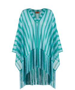 Missoni Mare | Striped Oversized Fringed Fine-Knit Poncho