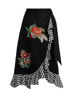 House Of Holland | -Embroidered Ruffle-Trimmed Cotton Skirt