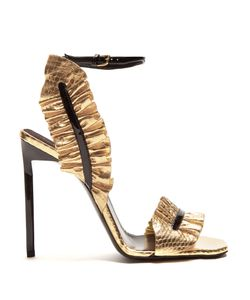 Saint Laurent | Edie Ruffle-Trimmed Leather Sandals