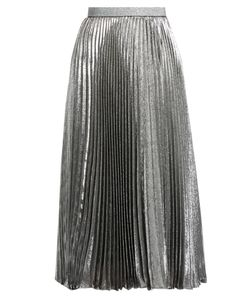 Christopher Kane | Pleated Silk-Blend Lamé Skirt