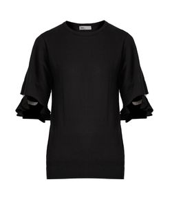 Toga | Sheer-Insert Cotton-Blend Top