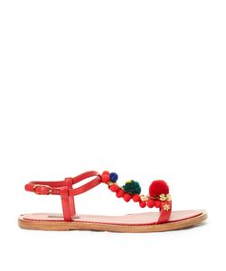 Dolce & Gabbana | Pompom-Embellished T-Bar Leather Sandals
