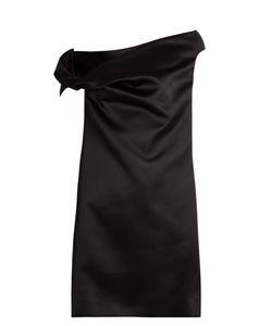 Balenciaga | Asymmetric Off-The-Shoulder Satin Mini Dress