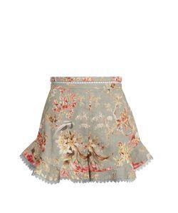 Zimmermann | Mercer Flutter Frill Linen-Blend Shorts