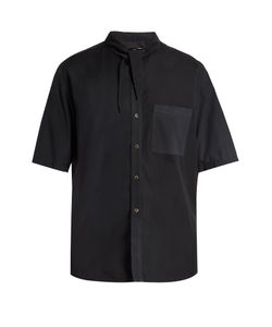 By Walid | Tie-Neck Loose-Fit Shirt