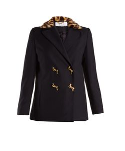 Muveil | Double-Breasted Leopard-Print Collar Woven Jacket
