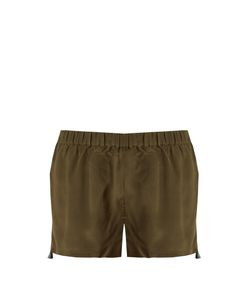 Figue | Cassia Embroidered Silk Shorts