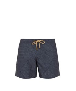THORSUN   Titan-Fit Quilt-Print Swim Shorts