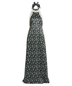 House Of Holland | Halterneck Lace-Trimmed Print Satin Dress
