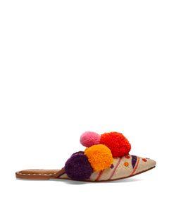 Figue | Iris Pompom-Embellished Leather Slides