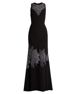 Elie Saab   Lace-Insert Belted Crepe Gown