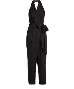 Diane von Furstenberg | Polka-Dot Print Halterneck Silk-Blend Jumpsuit