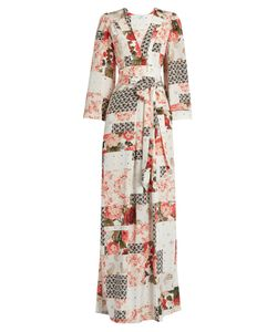 Vilshenko   Mariya Patchwork-Print Silk Crepe De Chine Gown