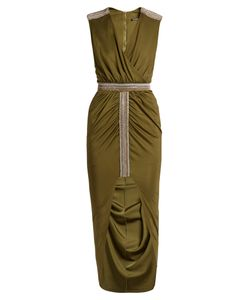 Balmain | Wrap-Front Embellished V-Neck Dress