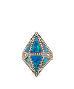 Noor Fares | Diamond Sapphire Opal Ring