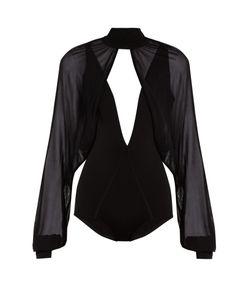 Balmain | Sheer-Overlay Stretch-Knit Bodysuit