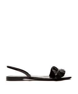 Saint Laurent | Edie Ruffle-Trimmed Leather Sandals