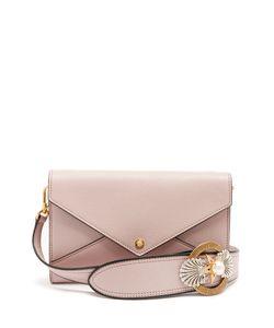 Miu Miu | Embellished-Strap Grained-Leather Envelope Bag