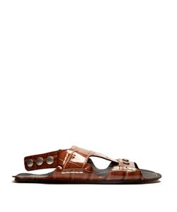 Joseph | Crocodile-Effect Leather Flat Sandals