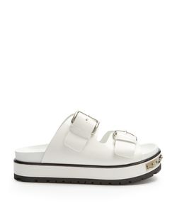 Alexander McQueen   Double-Strap Leather Flatform Sandals