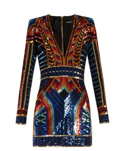 Balmain | V-Neck Sequin-Embellished Mini Dress