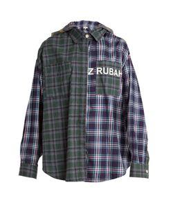 Natasha Zinko | Oversized Checked Cotton Hooded Shirt