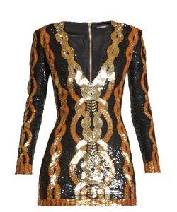 Balmain | V-Neck Sequin-Embellished Mini Dress