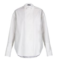 Calvin Klein Collection   Larabee Granddad-Collar Cotton Shirt