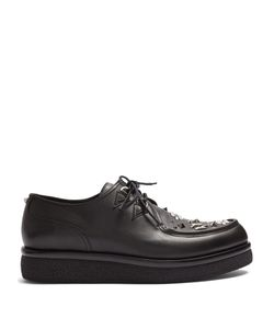 Valentino | Almond-Toe Embellished Leather Derby Shoes