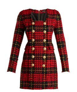 Balmain | Double-Breasted Hounds-Tooth Check Mini Dress