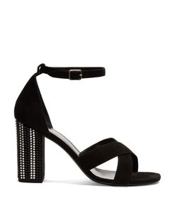Saint Laurent | Babies Crystal Embellished-Heel Suede Sandals