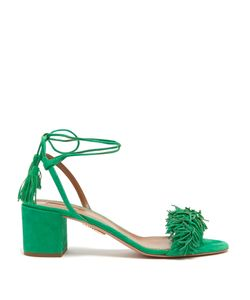 Aquazzura | Wild Thing Suede Fringed Block-Heel Sandals