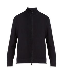 Brioni   High-Neck Zip-Through Cotton Sweater