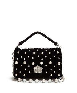 Miu Miu | Faux-Pearl Embellished Velvet Shoulder Bag