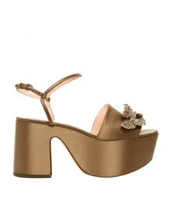 Rochas | Crystal-Embellished Satin Flatform Sandals