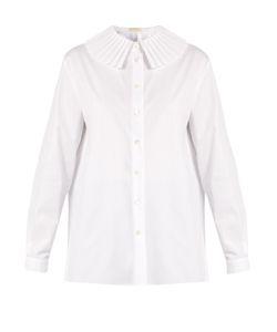 Sara Battaglia | Pleated-Collar Cotton-Blend Poplin Shirt