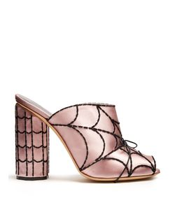 Marco de Vincenzo | Spider Web-Embroidered Satin Mules