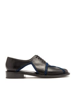 Robert Clergerie   Jofre Crochet-Trimmed Leather Shoes