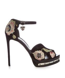 Alexander McQueen   Poppy-Embroide Suede Sandals